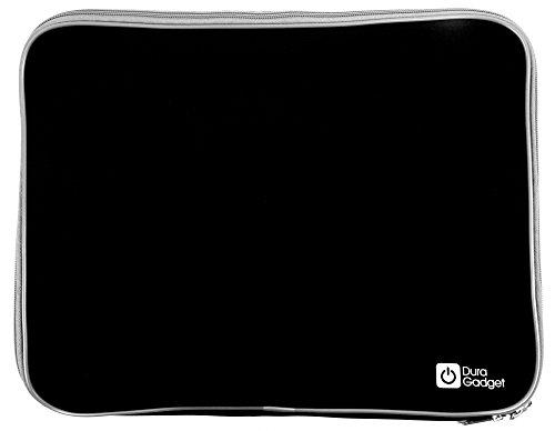 DURAGADGET Hard-Wearing Black Travel Water Resistant & Shock Absorbent Neoprene Laptop Sleeve with Dual Zips for Lenovo IdeaPad U410 & U310