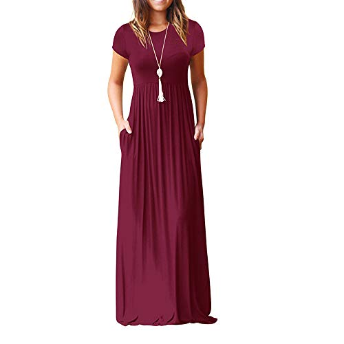 87da14c685 Dressin Elegant Women O Neck Casual Pockets Short Sleeve Floor Length Dress  Loose Party Dress