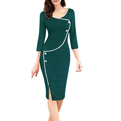 Sunhusing Women Autumn Winter Casual V-Neck Seven-Point Sleeve Front Split Fork Pencil Sweater Dress