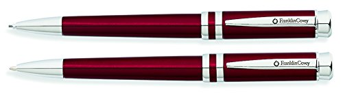 Franklin Covey Freemont Vineyard Red Lacquer Ballpoint Pen and 0.9mm Pencil Set with Polished Chrome Appointments (FC0031IM-3)