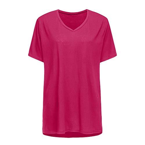 (YKARITIANNA 2019, Women's Plus Size Casual Short Sleeve Shirt V-Neck Loose Slit Shirt T-Shirt Hot Pink)