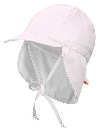 Livingston Toddler's SPF 50+ UV Sun Ray Protective Safari Hat w/Neck Flap,White -