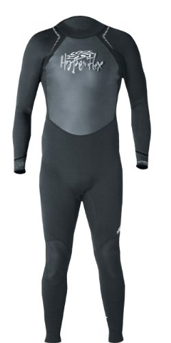 Hyperflex Women's and Men's 3mm Full Body Wetsuit - SURFING, Water Sports, Scuba Diving, Snorkeling - Comfort, Flexible and Anatomical Fit - and Adjustable Collar, Black/Grey, L
