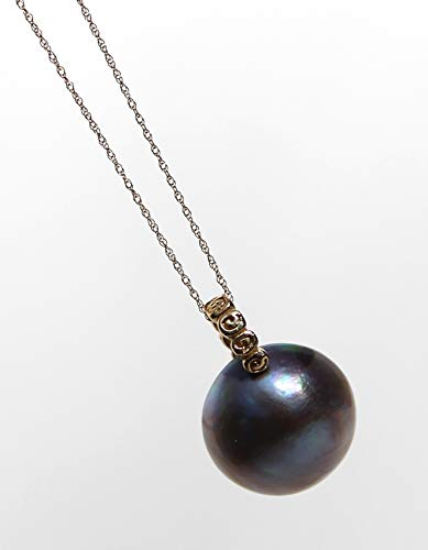 (14K solid gold chain with HUGE 16mm blue round Mabe)