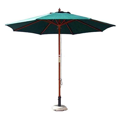 SUINSHODE 9FT Wooden Outdoor Patio Umbrella with 8ribs Strong Pully Lift with Olefin Canopy with UV Protection,Dark Green