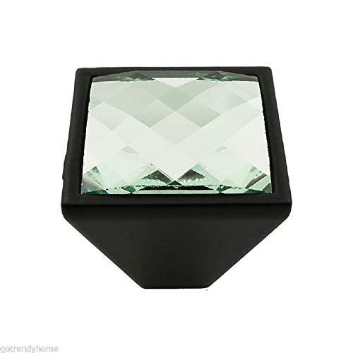 (Peppermint Store Diamond Cut Crystal Glass Metal Square Cabinet Drawer Closet Knob Handle Pull #GHAD (SDBK4RDM01))