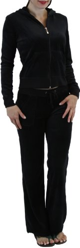 ToBeInStyle Women's Regular Drawstring Pants w/ Hoodie Sweatshirt New Velour Set,Large / Size: 6-8,Black (Regular Set String)