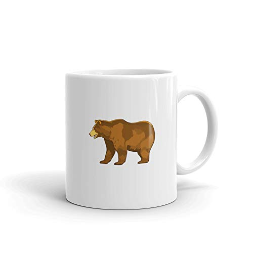1338c1a078 Amazon.com: Color Of Bear Grizzly Isolated On White Brown Favorite Drink  Mug Ceramic Cup 11 Oz: Kitchen & Dining