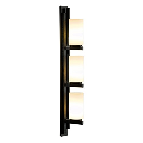 Hubbardton Forge 206309-1018 Hubbarton Forge Ondrian 3 Light Vertical Sconce Vintage Platinum (-82) Opal Glass (G) 3, Vintage Platinum Finish (Light Platinum Three Hammered)