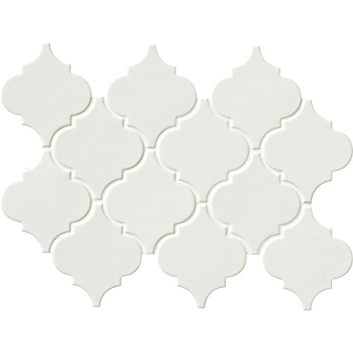 - Whisper White Arabesque 10-1/2 in. x 15-1/2 in. x 8 mm Glazed Porcelain Mesh-Mounted Mosaic Wall Tile (11.3 sq.ft./case)