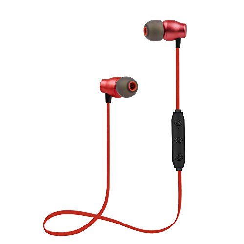 Bluetooth Headphones Sports Wireless Earbuds Sweatproof Headset Magnetic Attraction Stereo Earphones for Running Workout Gym Noise Cancelling SAN.COMO (X5-Red)