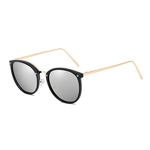 (VeBrellen Plastic Frame Unisex Sunglasses Polarized TAC Mirrored Colorful Lens Driving Glasses UV400 (Black Frame With Silver Lens, 54))