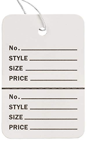 """Small Strung White Perforated Coupon Price Tags - 1 1/4""""W x 1 7/8""""H - Pack of 1000"""