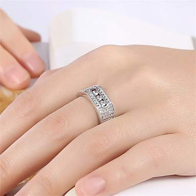 Silver FSKLN Womens Ring AAA Cubic Zirconia Basic Circular Unique Design Tattoo Style Rhinestone Natural Geometric Circle Friendship Fashion Turkish 8