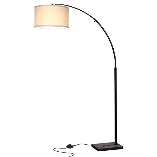 Marble Contemporary Lighting (Brightech Logan LED Floor Lamp- Classic Arc Floor Lamp with Hanging Shade and Marble Base- Energy Saving LightPro Bulb Included- Classic Black)