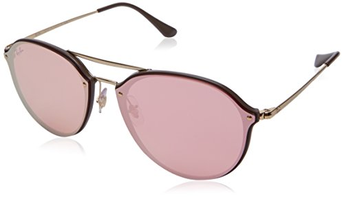 Ray-Ban RB4292N Blaze Double Bridge Square Sunglasses, Brown/Pink Mirror, 62 mm