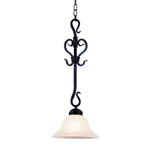 Alumbrada Collection Buckingham 1 Light Pendant In Matte Black And White Faux Marble Glass