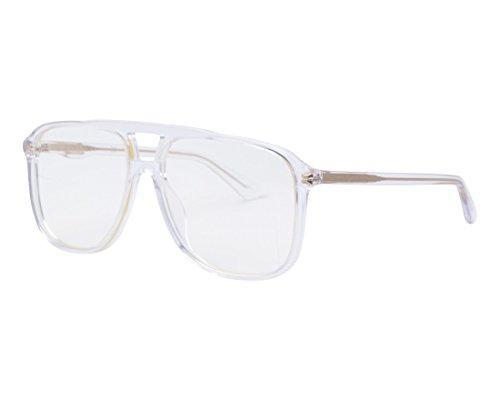 Gucci GG0262S 006 Transparent Plastic Aviator Sunglasses Grey ()