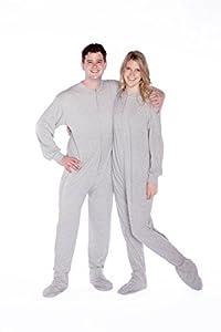 Big Feet Pajama Co. Gray Jersey Knit Adult Footie Footed Pajamas Onesie