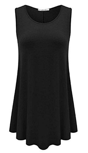JCTTrading Tunic Dress for Women Scoop Neck Sleeveless Flare Tunic Tops Shift Tunics Dress (XL, Black)