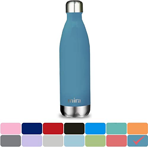 MIRA 25 Oz Stainless Steel Vacuum Insulated Water Bottle | Leak-Proof Double Walled Powder Coated Cola Shape Bottle | Keeps Drinks Cold for 24 Hours & Hot for 12 Hours | 750 ml Hawaiian Blue by MIRA Brands
