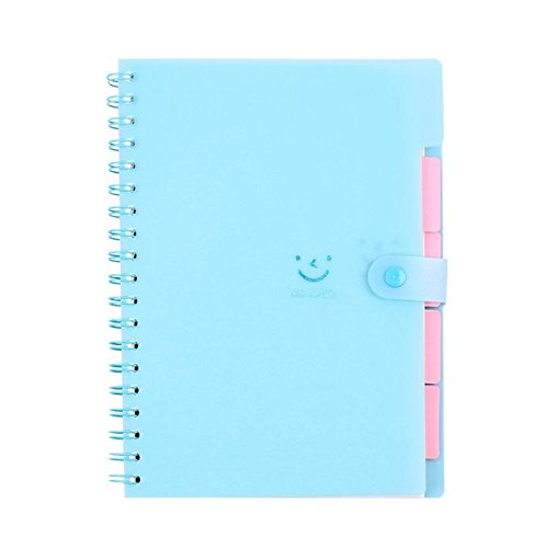 Wirebound 4 Subject Notebook (Spiral Notebook, Chris.W 4 Subject Wirebound Notebooks with 100 Sheets Ruled Paper & Snap Button, for Office/School/Journal/Work(Blue))