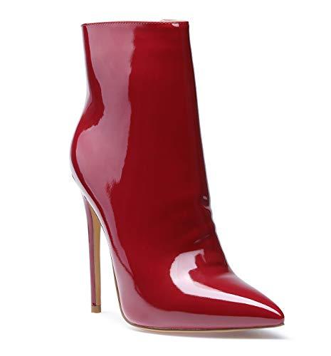 SUNETEDANCE Women's High Heel Ankle Boots Slip On Pointy Toe Boots with Zipper Elegant Stiletto Comfort Boot 12CM Heels Patent Wine Pump 7.5 M US