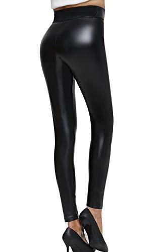 Pelisy Leggings Cuir Femme Sexy Stretch Noir Brillant Simili PU Pantalon