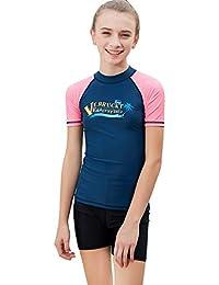 Labelar Big Girls Short Sleeve Rash Guard 6-14 Years Sun Protection Swim Shirt
