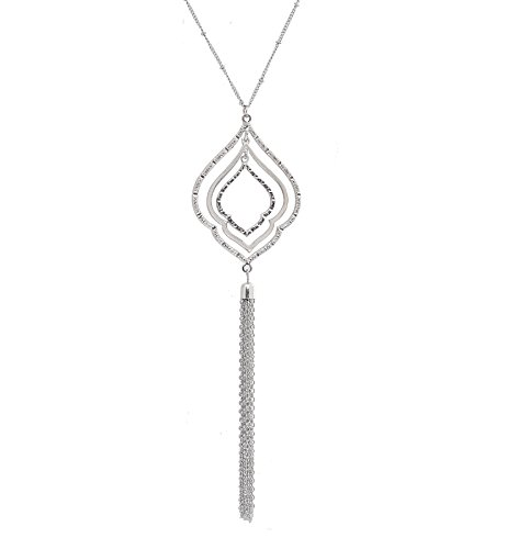 YOUMI Long Necklace for Women Layered Rhombus Leaf Drop Tassel Pendant Necklace Y Lariat Sweater Necklace(Silver)