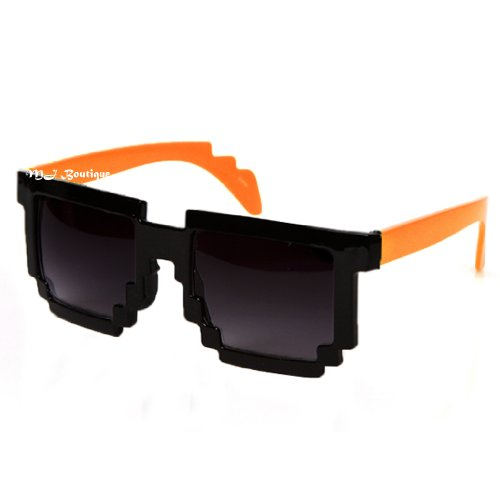 8-Bit Pixel Two Tone Black & Orange Pixelated Sunglasses Dark Lens Video Game Geek Party FREE - Sunglasses Game Video