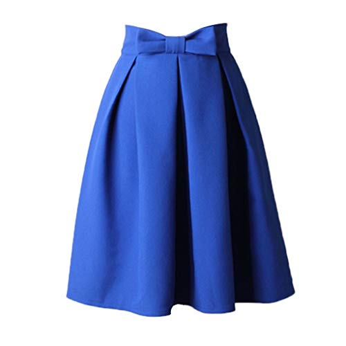 450bbd7d2ee FNKDOR Womens Plain Soft Stretch Vintage Dress Ladies Elasticated Waistband  Knee Length Full FLA Swing Skater Midi Skirt Brown