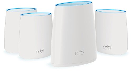 NETGEAR Orbi Whole Home Mesh WiFi System with Tri-band – Eliminate WiFi dead zones, Simple setup, Single network name, Works with Amazon Alexa, Up to 8,000 sqft, AC2200 (Set of 4) by NETGEAR