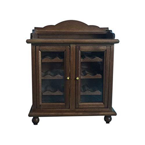 NszzJixo9 1:12 Dollhouse Furniture Miniature Cupboard Cabinet Living Room Kid Pretend Toy Living Room Kid Toy Package Simulation Life Scene (Brown) (With For Mirror Buffet Sale Antique)