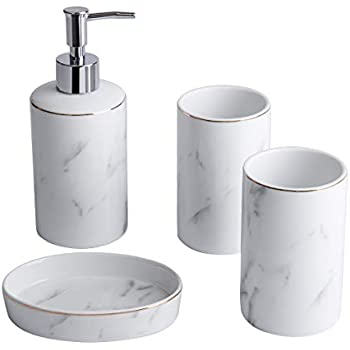 Amazon Com White Bathroom Accessories Set 4 Pieces With