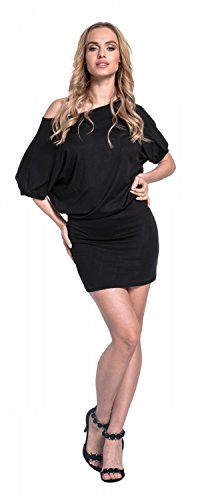 Glamour Empire. Para Mujer Mini Vestido Mangas de Murciélago Cuello de Barco.700 Negro