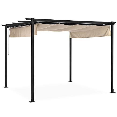 Best Choice Products 10x10-foot Extra-Large Outdoor Patio Pergola Shelter w/Removable Retractable Sun Shade Canopy Cover, Weather-Resistant Fabric, Steel Frame, and 16 Ground Stakes, Black