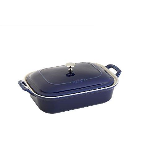 Staub 40509-097 Ceramics Rectangular Covered Baking Dish, 12x8-inch, Dark Blue