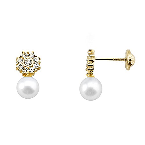 Boucled'oreille or 18k zircons perle de culture de présure [AA6003]