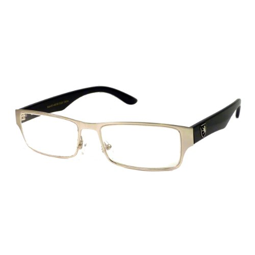 KHAN Designer Metal COOL Trendy Frame Clear Lens Eye Glasses Rx SILVER/BLACK