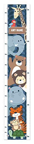 Personalized Growth Chart - Wild Animals Growth Chart Any Name Safari Growth Chart for Kids Height Personalized Growth Chart