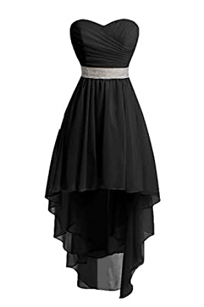 HUINI Beading Chiffon High Low Bridesmaid Dresses