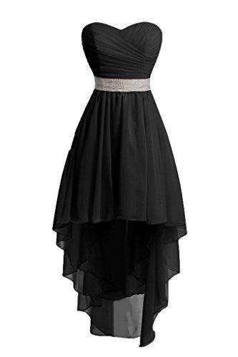 JAEDEN Mujeres Sin tirantes Vestidos de dama de honor Largo Gasa Alto-bajo Vestido de fiesta Vestido de noche Negro