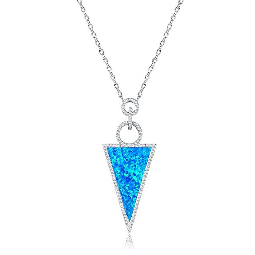 Mozume 25x15mm Blue Black Opal Triangle Pendant Necklace 925 Sterling Silver Link Chain 18 ()