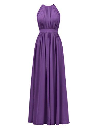 Alicepub Robes De Demoiselle D'honneur Ouverts À L'arrière Pour Les Femmes Robe De Bal Du Soir Licol Formel Violet
