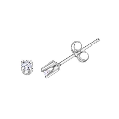 14k White Gold 0.15 Ct Diamond Stud Earrings by Direct-Jewelry