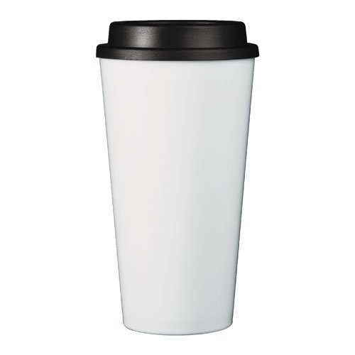 (Reusable To Go Hot & Cold Beverage Tumbler - Double Wall with Sip Lid - 16oz. Capacity - White)