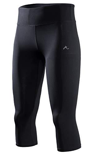 RION Active Women's Yoga Capri Shorts Leggings Workout Cropped Pants Black ()