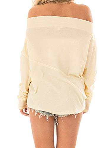 7bfd2c8ca173ac Women's Off The Shoulder Long Sleeve Casual Tie Front Knot Blouses T Shirt  Sweater Tops Beige