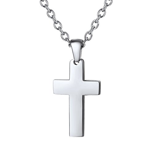PROSTEEL Women Cross Necklaces Stainless Steel Pendant & Chain Classic Dainty Minimalist Christian Jewelry Girl Mothers Gift Layering Necklace (Steel Stainless Pendant Solid)